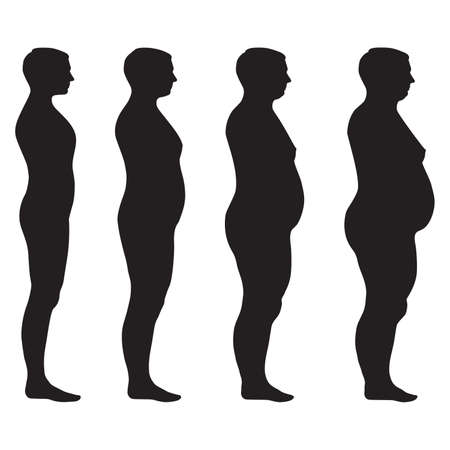 vector fat body, weight loss, overweight silhouette illustration Vettoriali