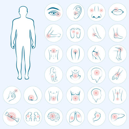 dolor de pecho: vector de la anatomía humana, dolor de cuerpo, ilustración médica Vectores