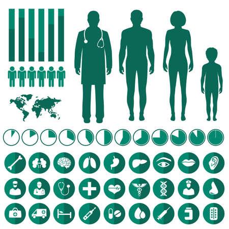 cuerpo humano: infografía médica vector, anatomía del cuerpo humano, iconos vectoriales salud