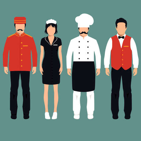 벡터 아이콘 호텔 서비스 직업, 만화 작업자 유니폼, 룸 서비스 일러스트
