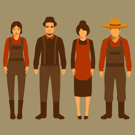 vector cartoon farmer character, farm, village people, agriculture illustration