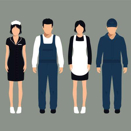 servicio de limpieza vector, aislado de dibujos animados limpiador trabajador uniforme, Vectores