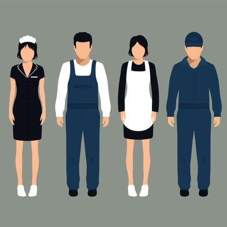 servicio domestico: servicio de limpieza vector, aislado de dibujos animados limpiador trabajador uniforme, Vectores