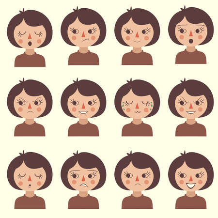 caricature woman: cartoon vector face emotion, icon character expression Illustration