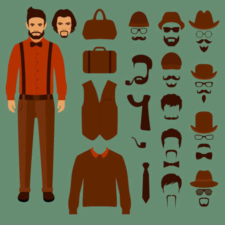 old man cartoon: hipster vector character, fashion style illustration,