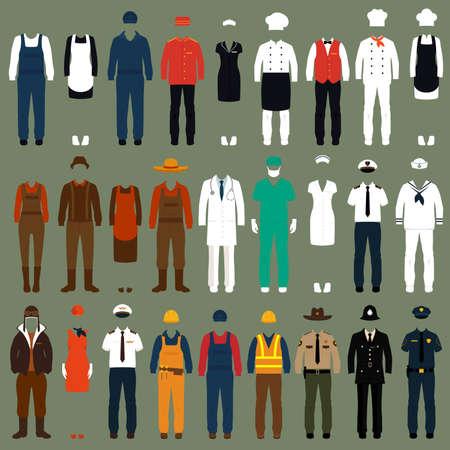 Trabajadores de iconos vectoriales, personas profesión uniforme, ilustración vectorial de dibujos animados Foto de archivo - 37236919