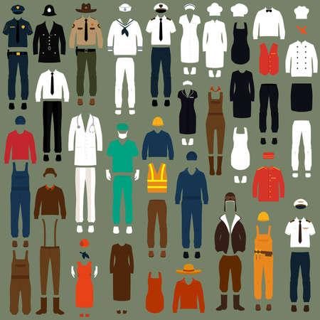 vector icon werknemers, beroep mensen uniform, cartoon vector illustratie