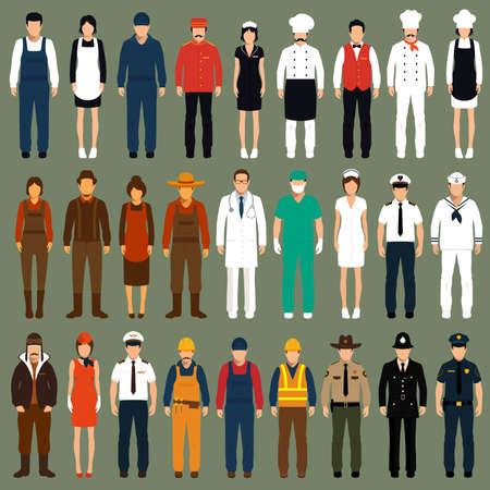 trabajadores de iconos vectoriales, personas profesión uniforme, ilustración vectorial de dibujos animados Ilustración de vector