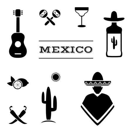mexican background: mexico background, vector mexican icons, cactus, tequila illustration Illustration
