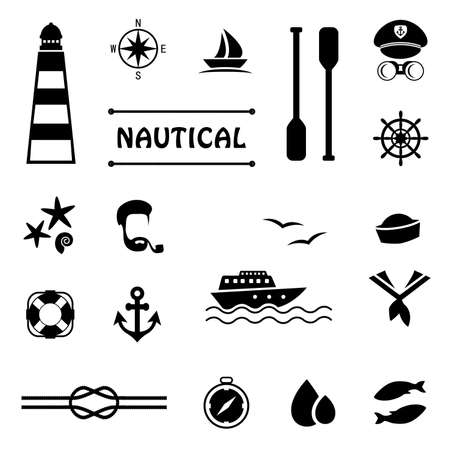 nautical: vector nautical icons, captain and sailor boat, sea set