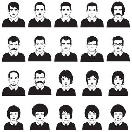 caricatura: gente planos vectoriales cara, avatar icono, personaje de dibujos animados