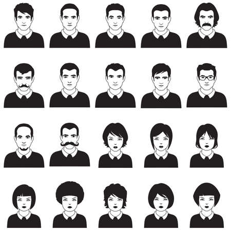 caricature: vector flat people face, avatar icon, cartoon character