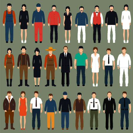 standing: vector cartoon people, man, woman flat characters illustration,