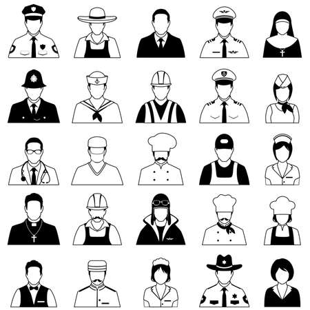caricaturas de personas: trabajadores de iconos vectoriales, personas profesión, ilustración vectorial de dibujos animados
