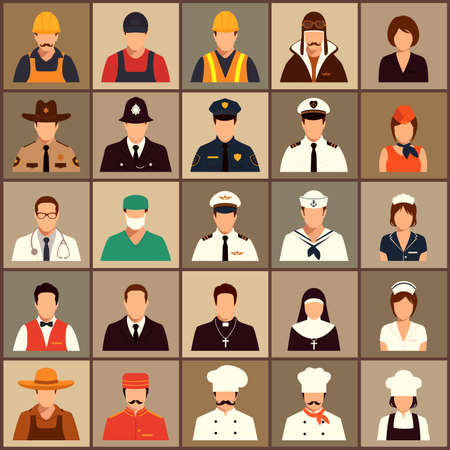 head icon: vector icon workers, profession people, cartoon vector illustration