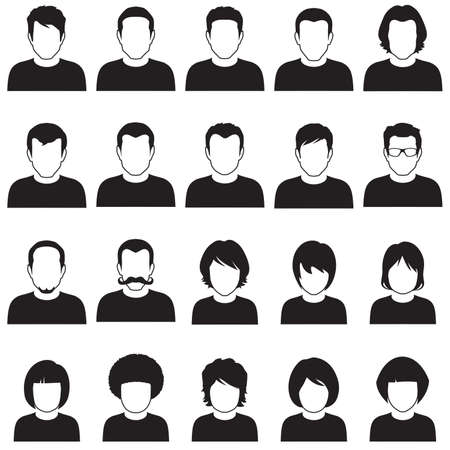 漫画のキャラクター、アバター アイコン ベクトル フラット人顔