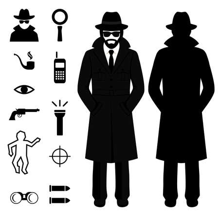 vector icon spy, detective man cartoon, illustration crime