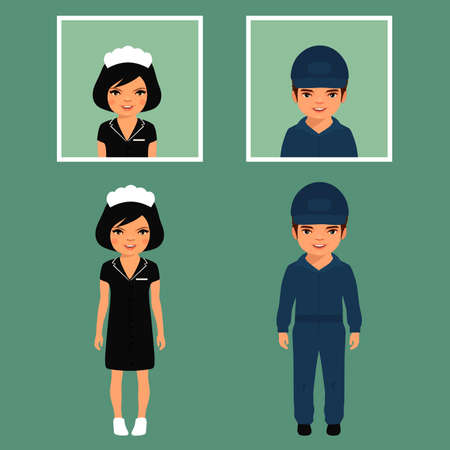 carpet cleaning service design: Vector cleaning service, cleaner isolated cartoon worker uniform,