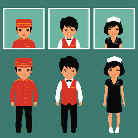 meseros: icono de vector profesión servicio de hotel, trabajador de dibujos animados uniforme, servicio de habitaciones