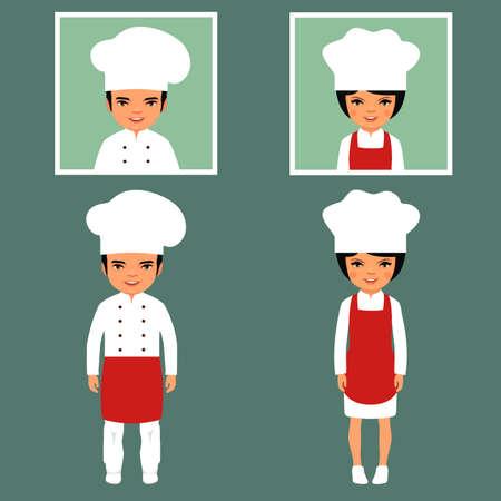 delantal: ilustraci�n vectorial cocci�n de iconos de dibujos animados cocinero, restaurante del chef sombreros