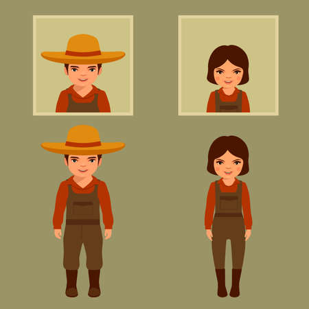 vector cartoon character farmer, farms, village people, agriculture illustration Illustration