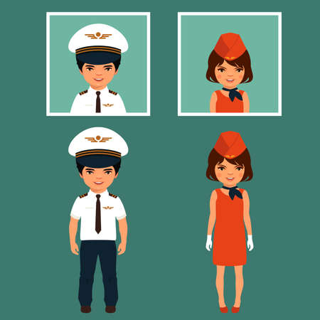 airman: pilot and stewardess, airplane people, cartoon vector illustration