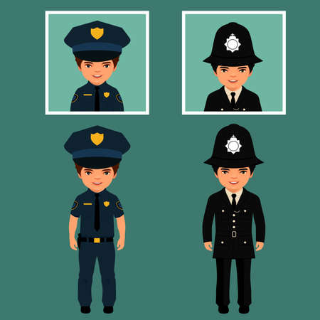 police badge: British policeman uniform, vector police officers people, profession vector illustration