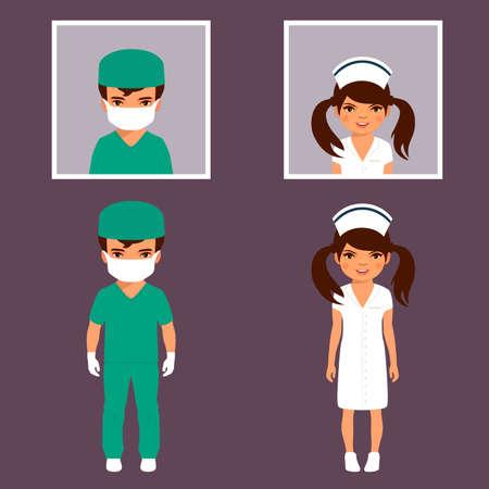chirurgo: chirurgo e infermiera personale, persone del personale ospedaliero, illustrazione vettoriale icona medica