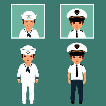 marinero: capitán y marinero personajes de dibujos animados, ilustración vectorial.