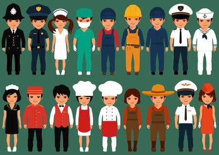 seguridad en el trabajo: trabajadores de iconos vectoriales, personas profesión, ilustración vectorial de dibujos animados