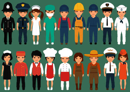 police cartoon: vector icon workers, profession people, cartoon vector illustration