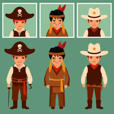 indians: Cowboy, Indian and pirate, american people, traditional culture