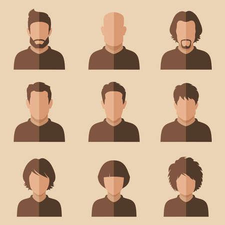 personaje: juego de avatar plana, la gente del vector icono, el usuario se enfrenta ilustración, diseño, Vectores