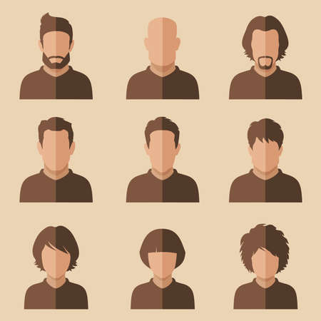 set: set of flat avatar, vector people icon, user faces design illustration