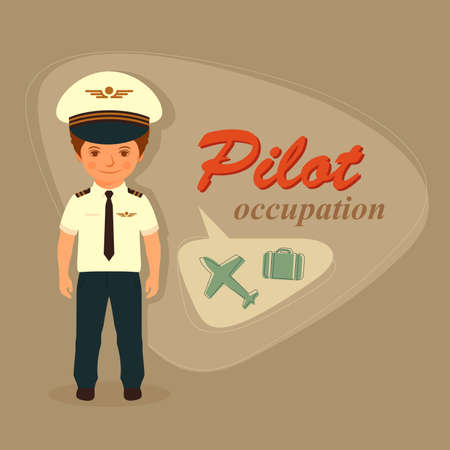 happy people working: Vector cartoon pilot, airplane illustration plane flight captain