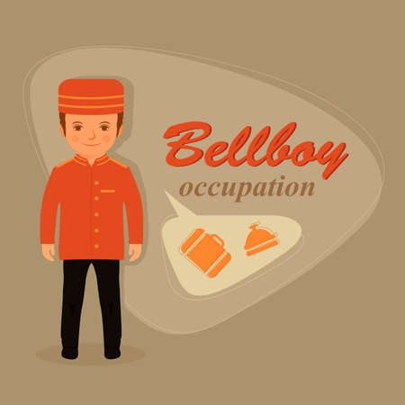 door bell: cartoon bellboy uniforms, hotel service vector illustration Illustration