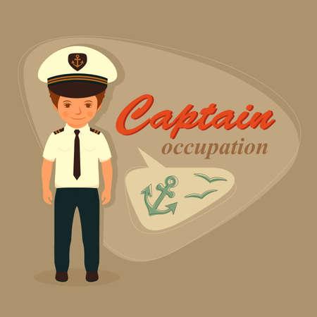 seaman: captain, sailor cartoon man, vector illustration sea Illustration