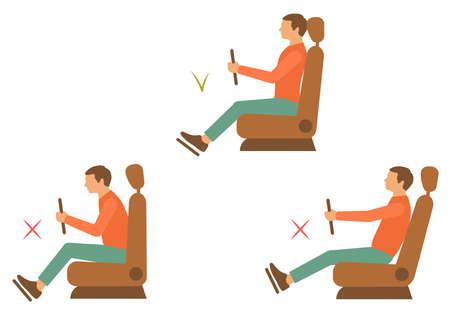 to sit: corregir volver posición, ilustración vectorial persona correcta postura Vectores