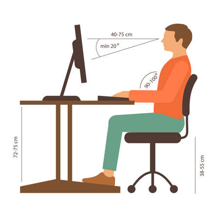 vector chair: correct back position, vector illustration right person posture