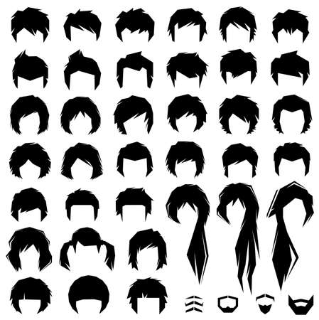 set of men hair styling: woman and man hair, hairstyle vector silhouette