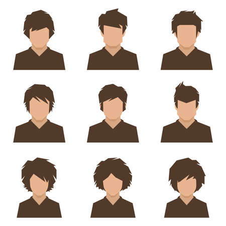 hair man: set of flat avatar, vector people icon, user faces design illustration