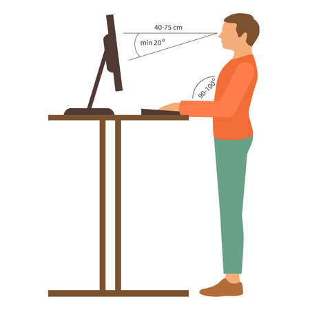 bad man: correct back position, vector illustration right person posture