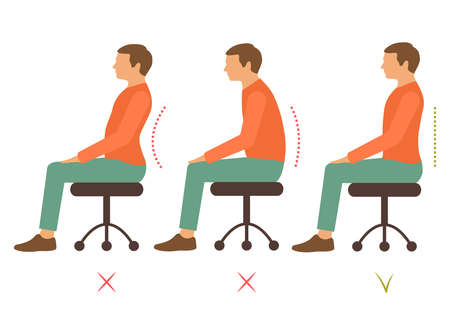 dolor de espalda: corregir volver posición, ilustración vectorial persona correcta postura Vectores