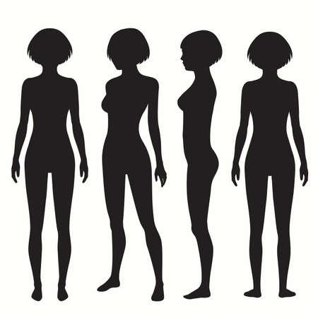 인체 해부학, 전면, 후면, 측면보기 벡터 여자 그림