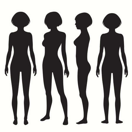 nude black woman: human body anatomy, front, back, side view vector woman illustration Illustration