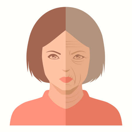 Vector portrait, visage de femme, avant et après vieillissement, soins de la peau