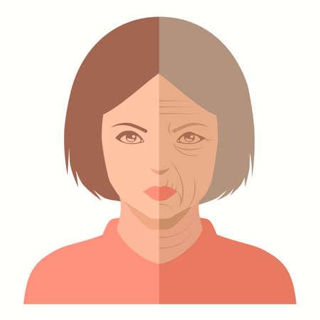 Vector portret, vrouw gezicht, voor en na de veroudering, huidverzorging
