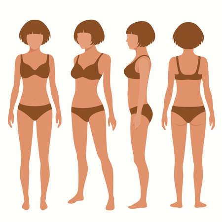 schwarze frau nackt: Körper Anatomie, vorne, hinten, Seitenansicht, vektor-illustration Illustration