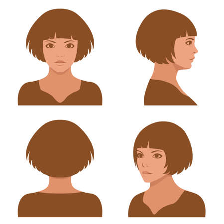 man face profile: Vector girl hairstyles, full face and profile head character