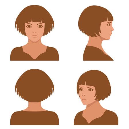 gesicht: Vector M�dchen Frisuren, volles Gesicht und Profilkopf Zeichen Illustration
